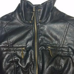 Faux leather 3/4 sleeve jacket